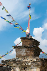 Buddhist stupa with colorful flags in Annapurna area, Himalayas