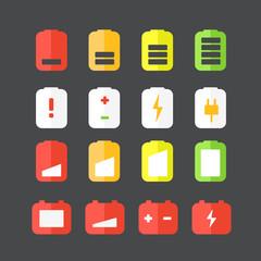 Different accumulator status icons. Flat design icons