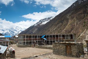Yak Kharka village, Annapurna Circuit turists trek, Himalayan