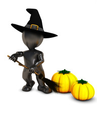 3D Morph Man Witch with pumpkins