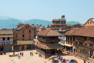 View on Taumadhi Tole near Durbar square of Bhaktapur, Nepal