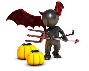 3D Morph Man Daemon with pumpkins