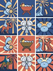 Nativity icon or symbol set