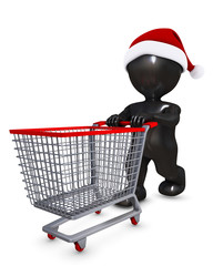 Morph Man with christmas shopping cart