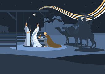 nativity scene and the three wise men