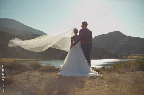 canvas print picture Young elegant wedding couple