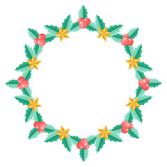 Christmas wreath with holly berry