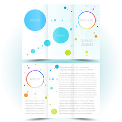 brochure design template trifold leaflet colored lines and circl