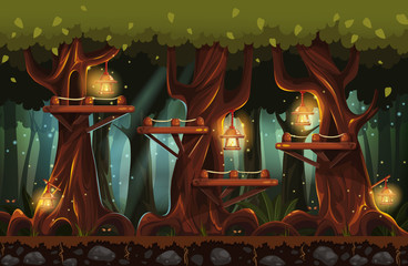Illustration of the fairy forest at night with flashlights, fire