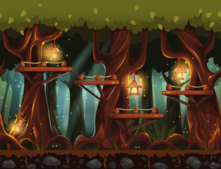 Seamless background fabulous night forest with lanterns, firefli