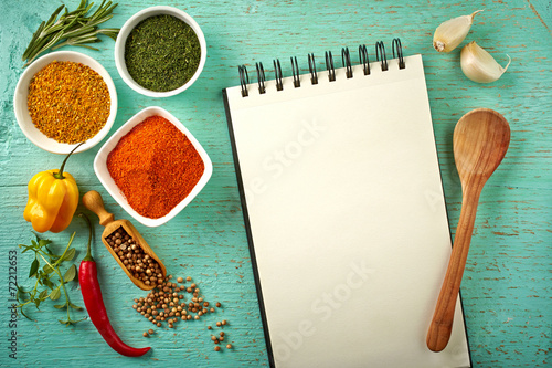 Foto op Canvas Kruiden Recipe book