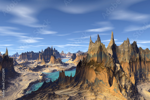 Plakat 3d rendered fantasy alien planet