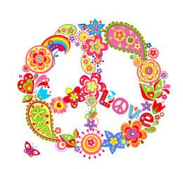 Vintage peace flower symbol