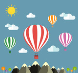 Air balloon flying over the mountain Icons of traveling