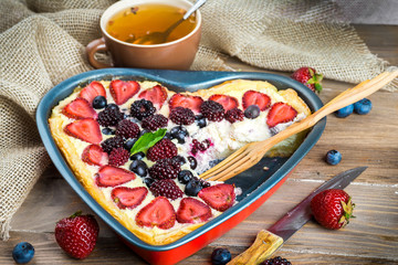 Fruit pudding with berries and fresh mint