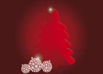 red Christmas tree with white spheres