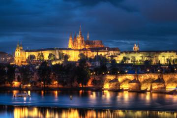 Prague at epic suset, Charles bridge and Prague castle
