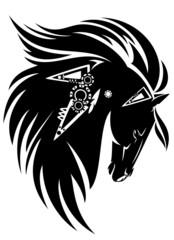 Black horse head with long mane tribal design