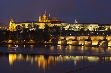 Prague at night, Charles bridge and Prague castle