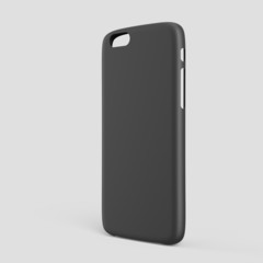 Black plastic case mock-up for smartphone. Outer view