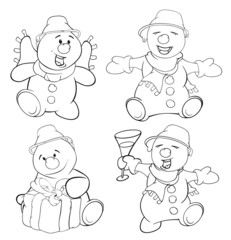 Set of funny Christmas snowman. Coloring book