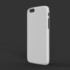 White plastic case mock-up for smartphone. Outer view