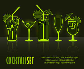 Set of cocktail silhouettes on black