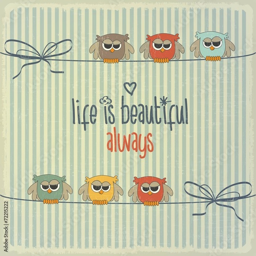Retro illustration with happy owls and phrase