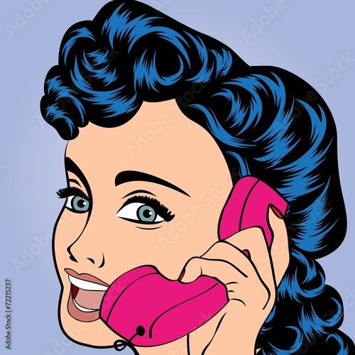 pop art cute retro woman in comics style - 72215237