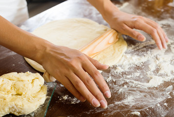 Closeup of housewife cooking  dough