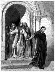 Abelard leaving Heloïse - 12th century