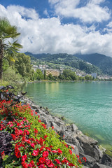 view of  the town of Montreux on Lake Geneva