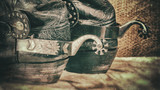 Abstract grungy western backgrounds with cowboy boots