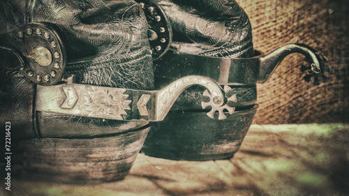 Canvas Retro Abstract grungy western backgrounds with cowboy boots