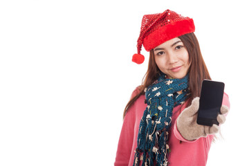 Asian girl with red christmas hat show mobile phone