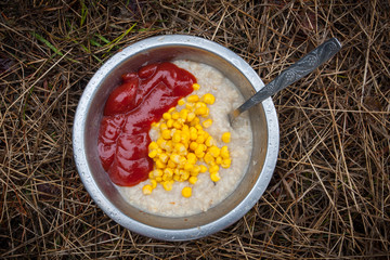 porridge with corn and toato ketchup