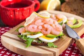 Fresh sandwich with shrimp and egg