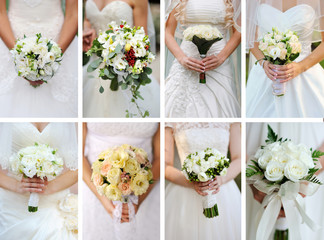 collage wedding bouquets in their hands