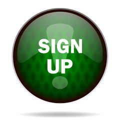 sign up green internet icon