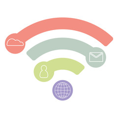 Vector wifi flat icon, infographic concept, blue design