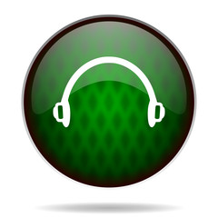 headphones green internet icon