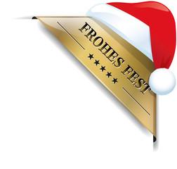 Goldene Banderole Frohes Fest mit Weihnachtsmannmütze