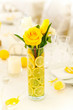 canvas print picture - Yellow roses in vase