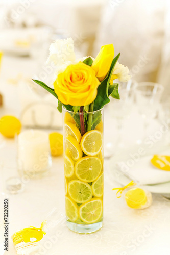 canvas print picture Yellow roses in vase