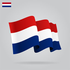 Flat and waving Dutch Flag. Vector