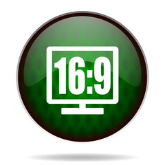 16 9 display green internet icon