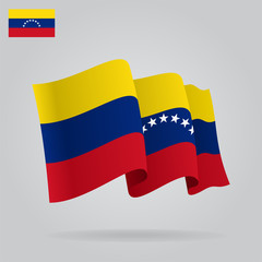 Flat and waving Venezuelan Flag. Vector