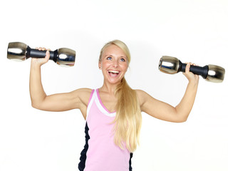Woman has fun with free weights