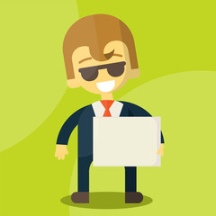 businessman holding blank notes characters poses