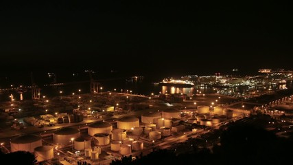 Cruises in the Indstrial Port of Barcelona Time Lapse